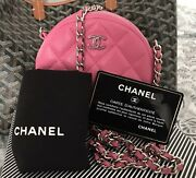 Authentic Mini Round Vanity Clutch Crossbody Bag Lambskin Pink Quilted