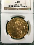1876-s Us Gold 20 Liberty Double Eagle - Ngc Au55