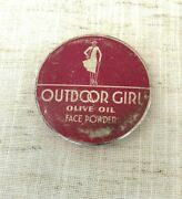 Outdoor Girl Olive Oil Face Powder Vintage Cosmetic Tin