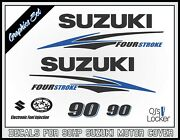 Suzuki 90hp Four Stroke Decal Kit - Outboard Engine Replacement Die-cut Stickers