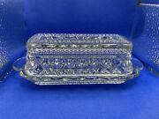 Vintage Anchor Hocking Clear Butter Dish And Lid Cut Glass Wexford Pattern