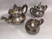 1900's Middletown Silver Plate Co. Hard White Metal,tea Pot Set Of 3 Exceptional