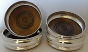 Set 4 Solid Hallmarked Silver Champagne Wine Coasters With Wooden Base