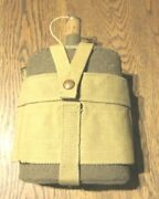 Ww2 British Army Enamel And Felt Water Can In Canvas Harness Stamped 1940