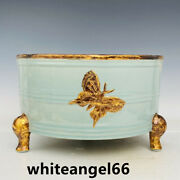 8.4andrdquo Antique Song Dynasty Ru Kiln Porcelain Butterfly Three Feet Incense Burner