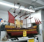 Vintage 4-mast Sail Boat Ship Wood Model With Stand 56 Inch - Local Pickup Only