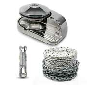 Pacific 600 Vertical Windlass 600w Kit W/ Nylon Three Strand Rope/chain And Swivel