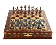 Metal Chess Set Antique Pharaohs Egyptian Handmade Solid Wood Crate Chessboard