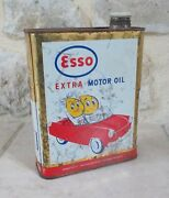 Vintage Esso Oil Can Tin Extra Motor France Mounted Inverted 2l Rare 11