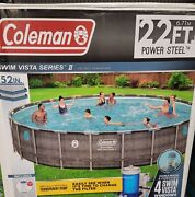 Coleman 22ft X 52 Power Steel Swim Vista Ii Swimming Pool With Pump And Filter