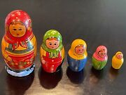 Vintage Hand Painted Russian Nesting Dolls 5 Piece Collectible - See Pictures