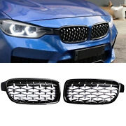 For Bmw F30 F31 3-series Front Kidney Grill Grille Chrome Black 2012-2018