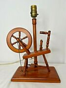 Vintage Wooden Spinning Wheel Table Lamp Americana Farmhouse Colonial Cabin