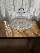 Federal Glass Cake Stand Windsor Button Cane Plate With Glass Dome Cover