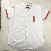 Robert Graham X Shirt Sleeve Tailored Fit Button Up Shirt Mens Size Large White