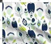 Blue Feather Mix Baby Woodland Nursery Decor Fabric Printed By Spoonflower Bty