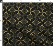Floral Cross Gold Charcoal Art Deco Nouveau Spoonflower Fabric By The Yard