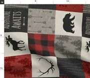Woodland Nursery Moose Red And Black Buffalo Spoonflower Fabric By The Yard