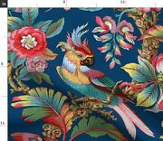 Bird Antique Palm Jungle Botanical Parrot Lonely Spoonflower Fabric By The Yard