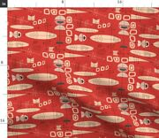 Vintage Inspired Mid-century Modern Atomic Era Spoonflower Fabric By The Yard