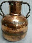 Antique Hand Hammered Copper Jug Iron Handle Dovetail Seamed Pot Bowl Vase