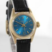 Ladies Rolex 24mm 6719 Solid 14k Yellow Gold Blue Dial 6917 Watch
