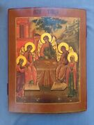 Large Rare Antique 19c Hand Painted Russian Orthodox Icon Of The Trinity 19.5