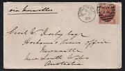Sg112 10d Red-brown A-d Plate 1 On 1869 Cover To Australia