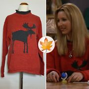 Vintage Moose Motif Red Holiday Sweater Mens/unisex Xs Aso Phoebe Buffay Friends