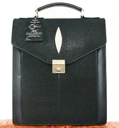 Authentic Mn Stingray Leather Briefcase Messenger Bag Shiny Black W/strap Large