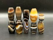 Antique Banded Agate Himalayan Jewelry Trade Cultural Amulet Beads Pendant Lot