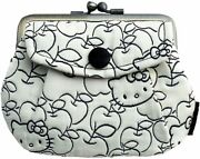 Sanrio Hello Kitty Metal Clasp Wallet Purse Coin Case Black Apple Japan Limited
