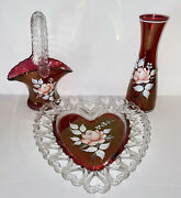Westmoreland Glass Ruby Bud Vase Basket And Heart Hand Painted Roses Signed 1977/8