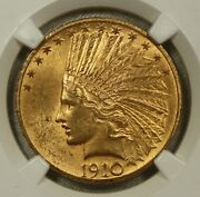 1910 Indian Gold Eagle 10. Ngc Ms63.
