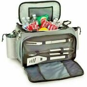 Picnic Time Vulcan Portable Propane Bbq Grill And Cooler Tote W/ Trolley Black New