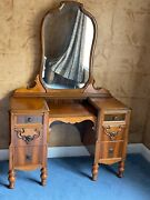 Antique 1930's Vanity Dressing Table With Mirror And Matching Bench