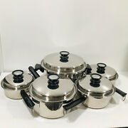 10 Pc Amway Queen Cookware 18/8 Stainless Steel Skillet Sauce Pan Dutch Oven