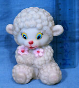 Vintage Little Lamb Rubber Squeaky Toy Doll Made In China No.611