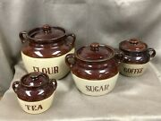 Vintage Monmouth Pottery Crock Canister Set Coffee Tea Sugar And Flour