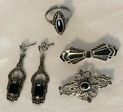 Vintage Sterling Silver Onyx Marcasite Jewelry Ring Earrings And Pins