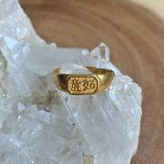 """Solid 24k Gold """"dreams Come True"""" Antique Chinese Wedding Ring Adjustable 1800s"""