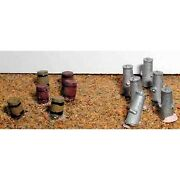 6 Barrels Wooden Styleand 6 Milk Churns N Scale - Unpainted - Langley A35