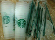 15pcs Starbucks Reusable Frosted Ice Cold Drink Cup With Lid And Straw Venti 24 Oz