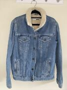 Top Shop Moto Denim Jacket Fleeced Lined Size 12