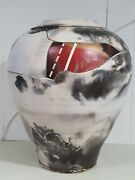 Vintage Signed Hubbell Extremely Large Bulbous Vase W/imbedded Wire Design