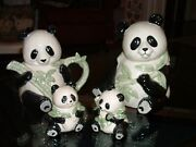 Set Of Omnibus By Fitz And Floyd Panda Collection Cookie Jar Teapot S/c Set