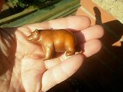 Hand Carved Wood Netsuke Bear Stretching Collectable Boxwood Figure ...2