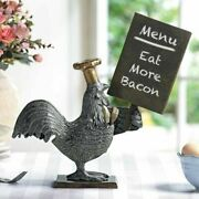 Ebros Rooster With Chef Hat Holding A Menu Board Statue 13.5 Tall Countertop