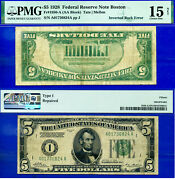Error Note - 1928 5 Frn Inverted Back Error Pmg 15 A01736824a