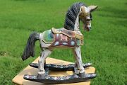 Primitive Folk Art Painted Wood Rocking Horse 19 Tall Detailed And Hand Painted